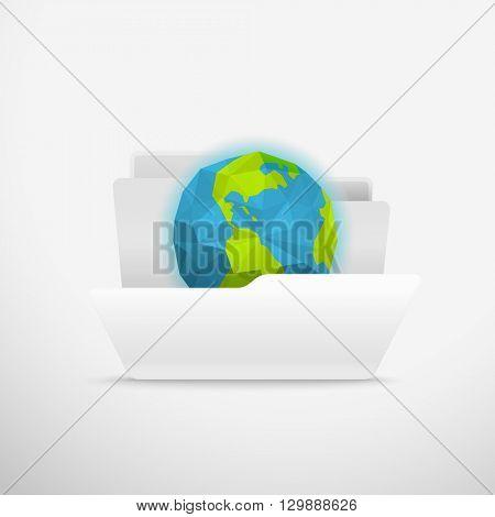 Computer interface folder vector illustration. Open folder illustration. Earth