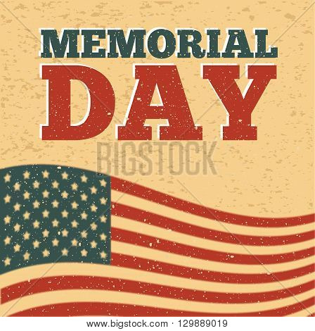 Colored background with text and elements for memorial day. Vector illustration