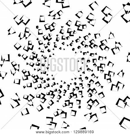 Abstract Spiral Element, Background With Angular Motif. Squares With Rotation, Twirling Distortion E