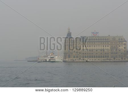 Istanbul Turkey - January 5 2014: Istanbul dense fog in the throat was found to affect the transportation and daily life.