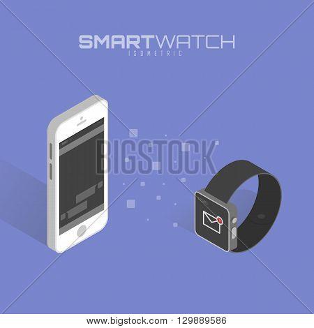 Calendar synchronization between smart watch and smart phone. Smartwatch and smartphone communication. Vector illustration