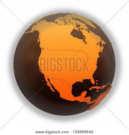 North America On Chocolate Earth
