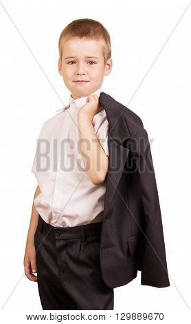 Cute little boy is going to go to school isolated on white background.