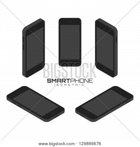 Black Mobile phone from four sides icon set vector graphic illustration. Isometric view of the front, back, right, left and top.