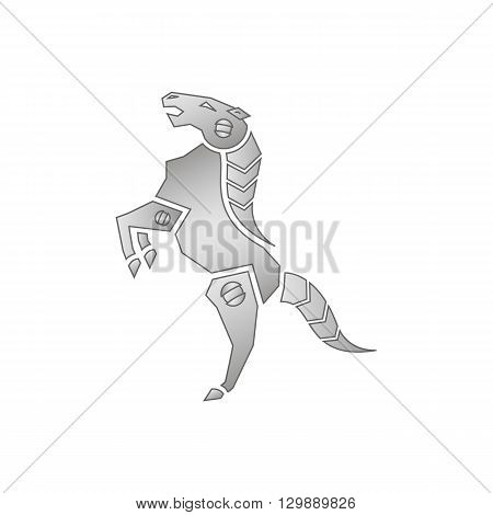 Robot steed iron mechanical horse standing on two legs vector illustration osilated on white background.