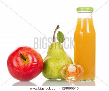A bottle of juice from fresh fruits and pacifier isolated on white background.