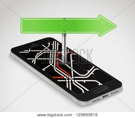 Modern smartphone with abstract metro map. Dark mobile phone and a map vector illustration. City travel concept