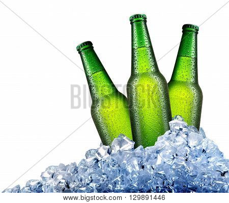 Green bottles of beer in ice isolated on white