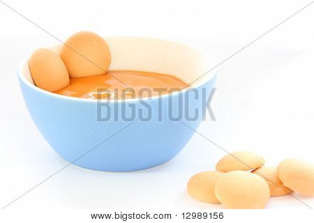 Red Bowl With Children Fruit Pap / Mush With Sponge-biscuits