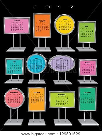 2017 Chrome sign holder calendar for print or web