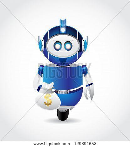 blue robot illustration character carry money bag