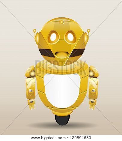 cartoon robot illustration with golden colour isolated