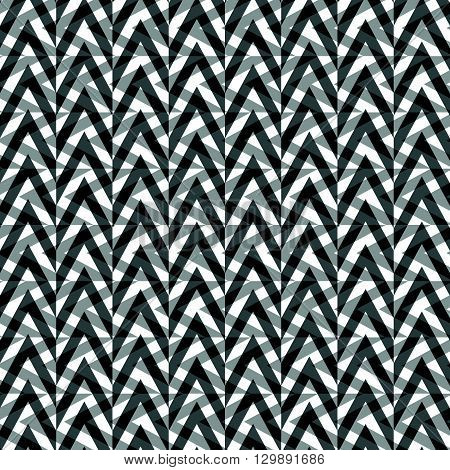 Abstract Geometric Pattern With Overlapping Shapes. Grayscale, Monochrome Pattern