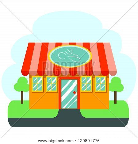 Stock Illustration of Restaurant Cafe with Shiny window