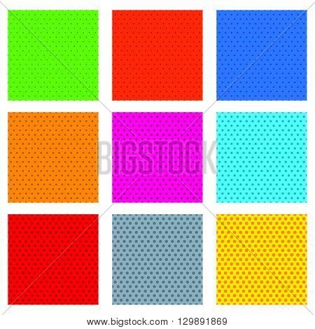 Polka Dots, Dotted Pattern Set. Colorful Repeatable Patterns. Set Of 9 Colors.