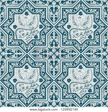 Arabic Blue Seamless Pattern with bird Phoenix. Vector illustration