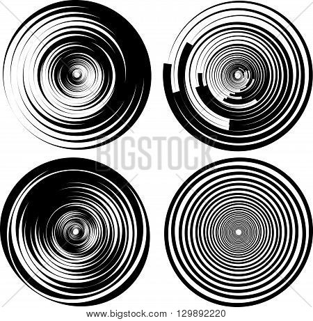 Concentric, Radial Circles. Spiral, Ripple Elements. Set Of 4 Version.