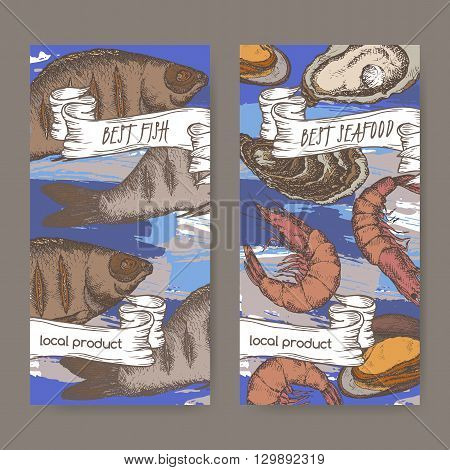 Set of two labels with color fish and seafood on hand painted blue background. Great for markets, fishing, fish processing, canned fish, seafood product label design.