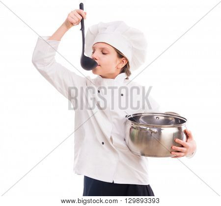 little cute girl in cook uniform with pan and ladle in hands isolated on white background