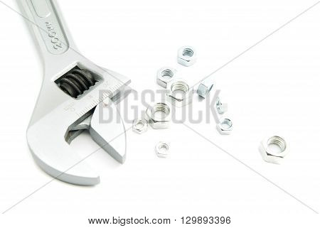 Adjustable Wrench And Nuts