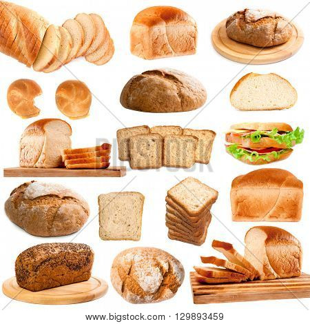 Collection of different bread isolated on white background