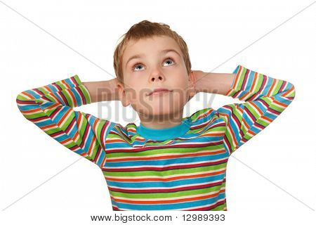 Portrait of boy on white background, smiling, he looks up with his hands behind his head.