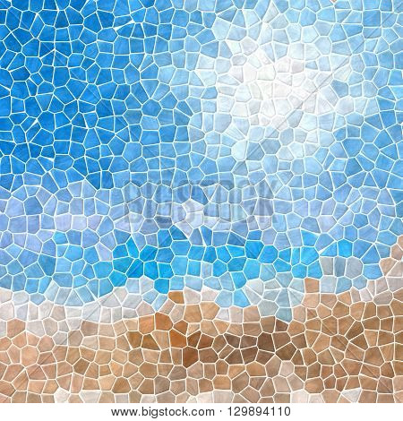 mosaic blue sky over sand beach pattern texture background with white grout