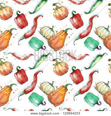 Seamless pattern with vegetables: pumpkin paprika pepper. Hand drawing watercolor. Stroke is made with ink.