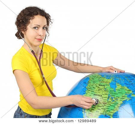 young beauty woman with stethoscope and big inflatable globe, half body, horizontal, isolated on white