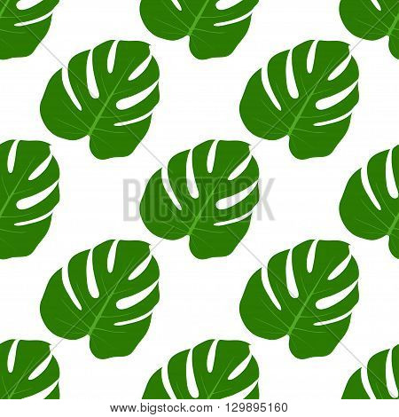 Isolated seamless texture with flat green leaves. Monstera.Patterns for cloth