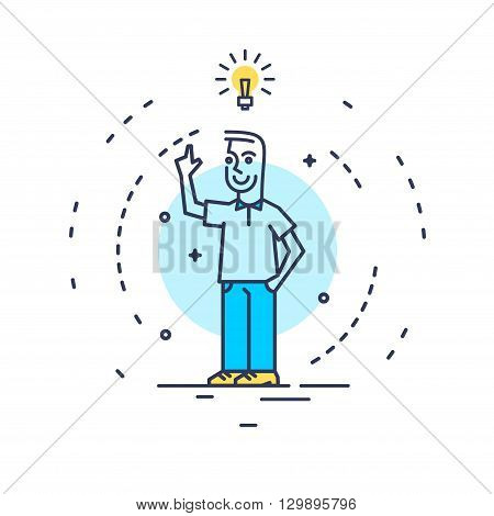 Abstract line art vector illustration of a man with an idea