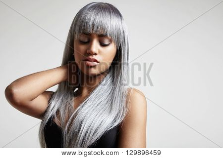 Woman With A Long Grey Hair. Creative Color Hair