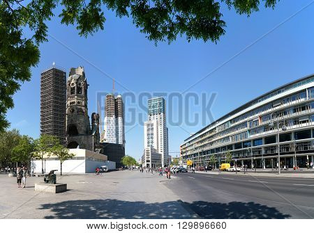 BERLIN, GERMANY - MAY 12, 2016: the Breitscheidplatz in Berlin with the Memorial Church. The Breitscheidplatz located in Berlin's Charlottenburg district and is the destination of many tourists