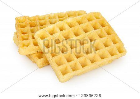three plain waffles isolated on white background