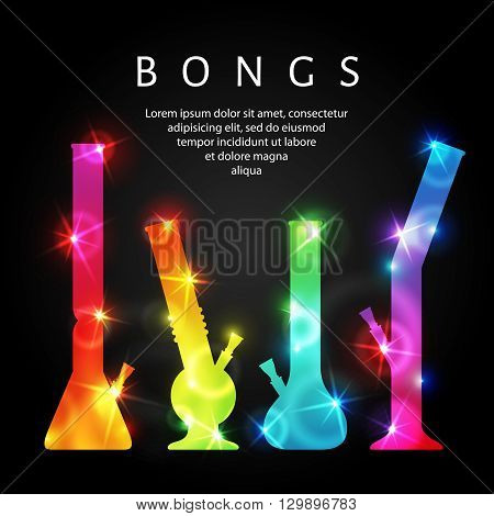 Cannabis bongs. Vector illustration of bongs for ganja smoking. Glowing multicolored silhouettes of marijuana bongs