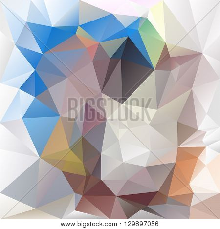vector abstract irregular polygon background with a triangular pattern in blue beige and gray colors