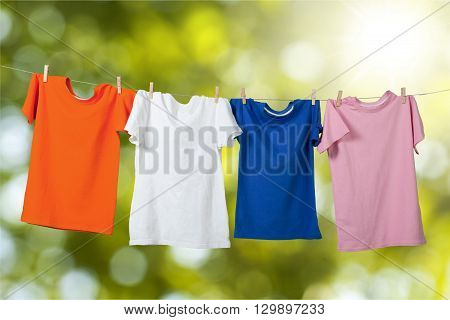 Hanging T-Shirts.