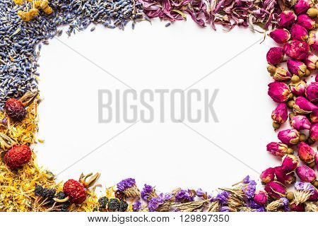 Border Of Healthy Herbs And Herbal Tea Assortment On White Background. Flat Lay Frame Composition, T