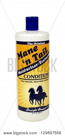 RIVER FALLS,WISCONSIN-MAY 16,2016: A bottle of Main N Tail brand conditioner for thicker and healthier hair.