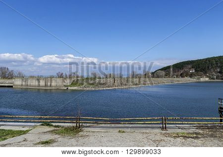Look toward barrage wall of picturesque  dam, gather water of Iskar river, Pancharevo, Bulgaria