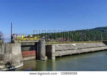 Barrage and sluice of picturesque  dam, gather water of Iskar river, Pancharevo, Bulgaria