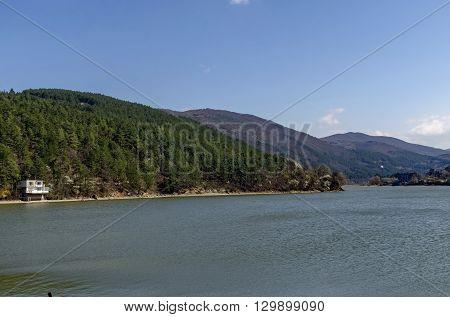 Look toward environment of picturesque  dam and Lozen mountain, Pancharevo, Bulgaria