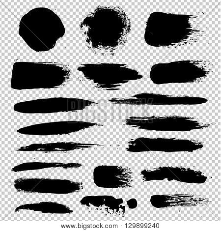 Black Blobs Big Set, Isolated on Transparent Background, Vector Illustration