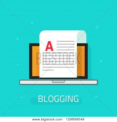 Blogging vector icon isolated on blue background, laptop with paper sheet and abstract text illustration, concept of blog, writing email letter, document cartoon flat design