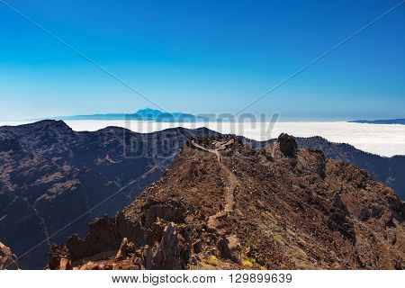 Tenerife and La Gomera view from the highest peak of La Palma Roque de los Muchachos, Spain
