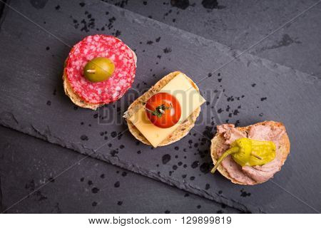 Spanish Tapas On A Black Stone