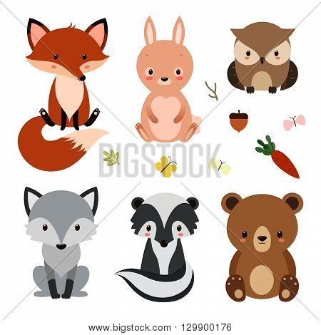 Set of cute woodland animals isolated on white background. Vector illustration.