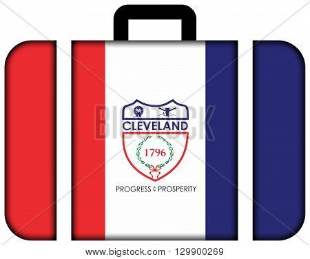 Flag Of Cleveland, Ohio. Suitcase Icon, Travel And Transportation Concept