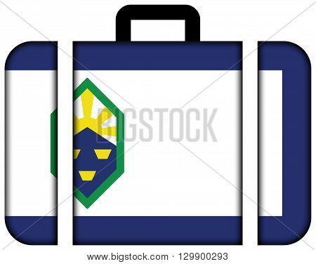 Flag Of Colorado Springs, Colorado. Suitcase Icon, Travel And Transportation Concept