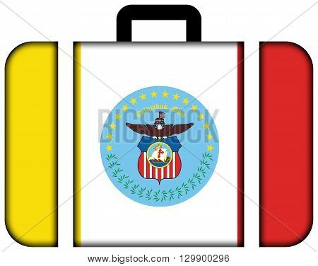 Flag Of Columbus, Ohio. Suitcase Icon, Travel And Transportation Concept